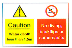 Caution Water Depth/No Diving Combo Sign