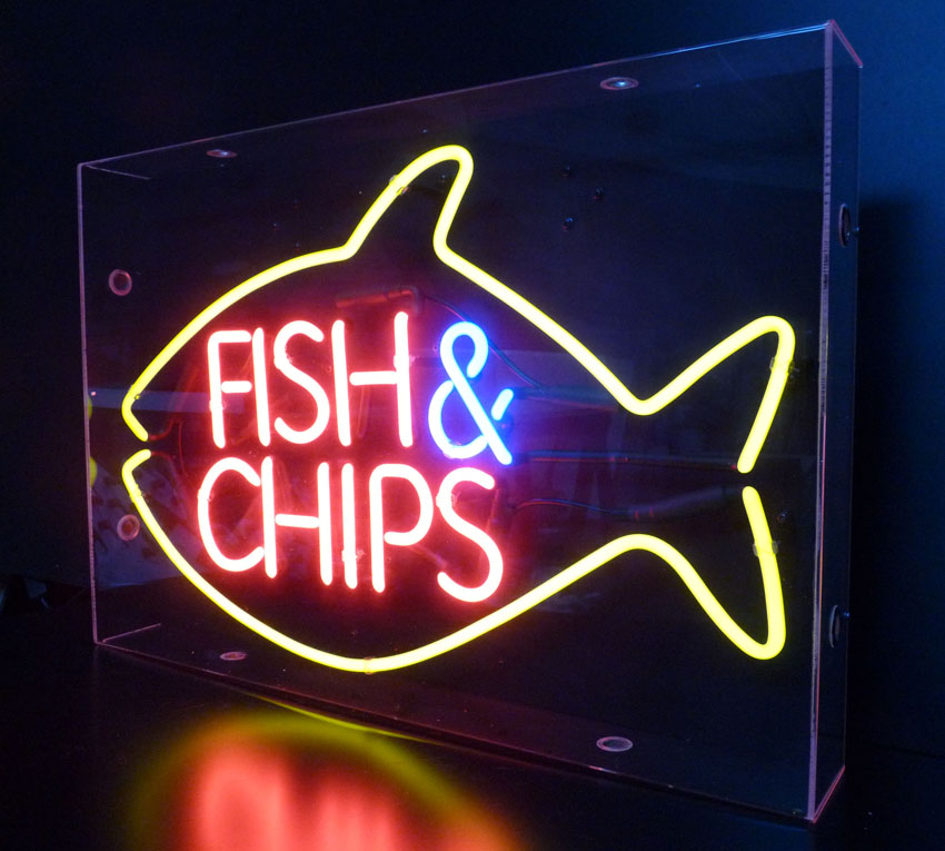Fish and chips neon sign for Fish neon sign