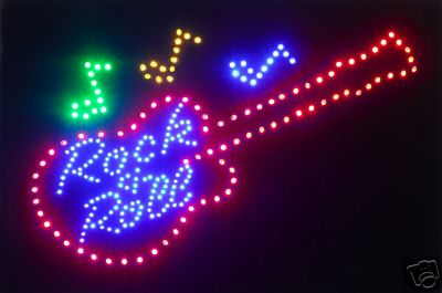 Guitar Rock & Roll Round LED Sign