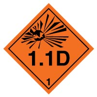 Hazard safety sign - Explosive 1.1D 016