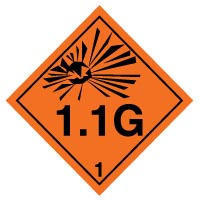 Hazard safety sign - Explosive 1.1G 018
