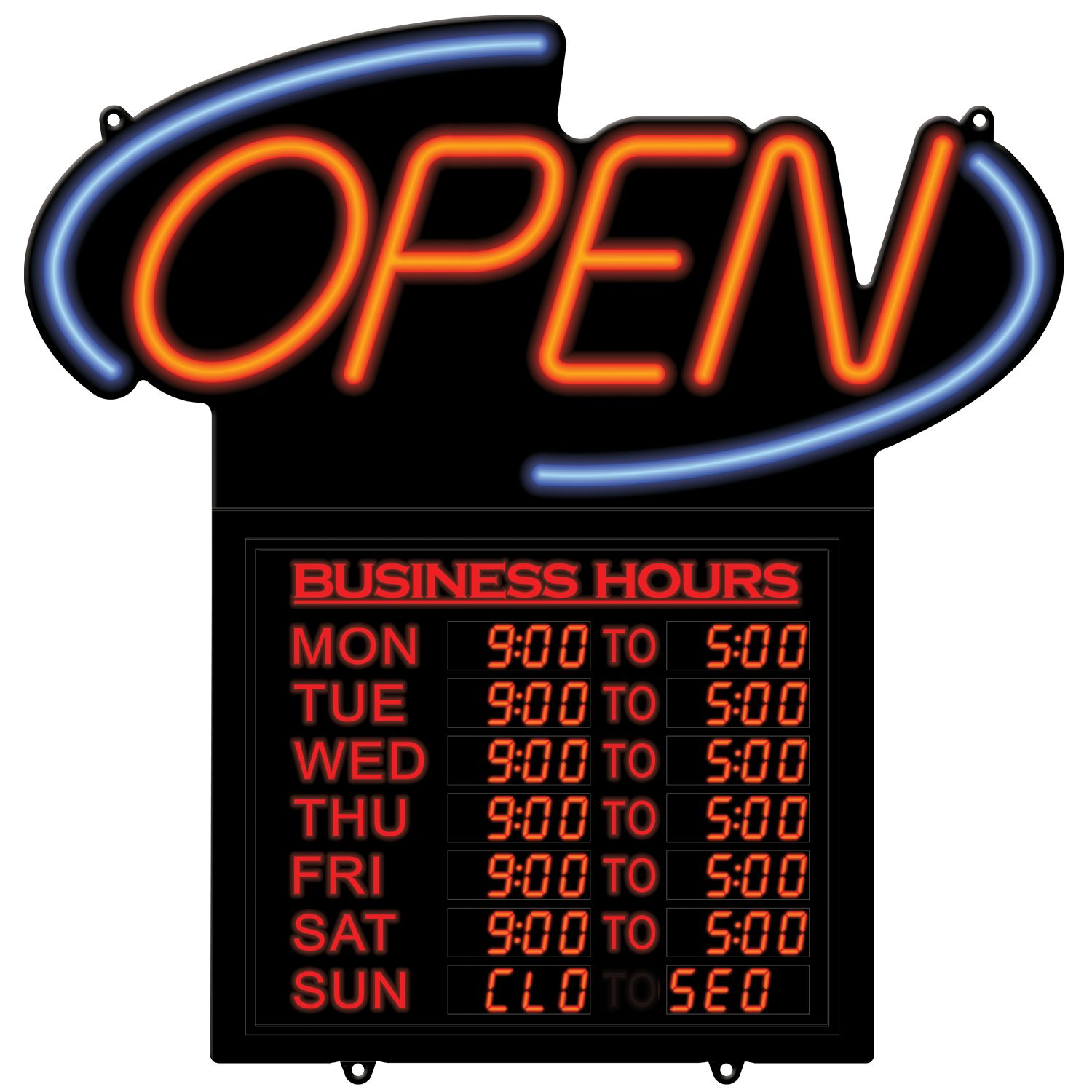 led neon effect open sign with business hours. Black Bedroom Furniture Sets. Home Design Ideas