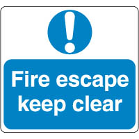 Mandatory Safety Sign - Fire Escape Clear 056