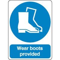 Mandatory Safety Sign - Wear Boots Provided 170