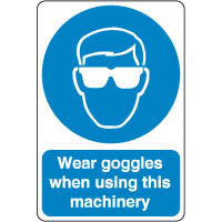 Mandatory Safety Sign - Wear Goggles When 183