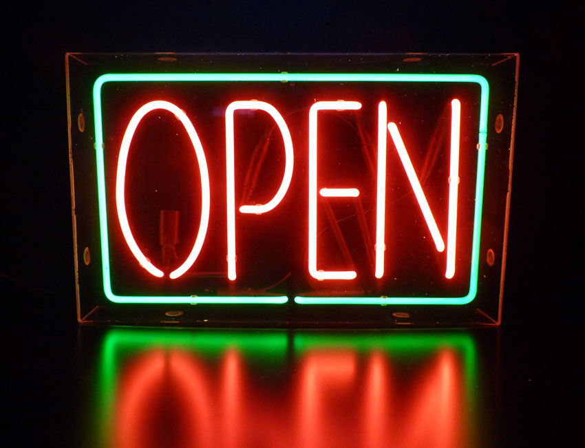 Open Neon Sign Green Amp Red
