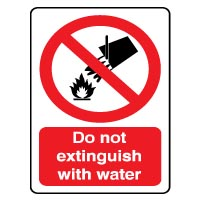 Prohibition safety sign - Do Not Extinguish 023
