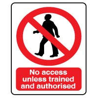 Prohibition safety sign - No Access Unless 055