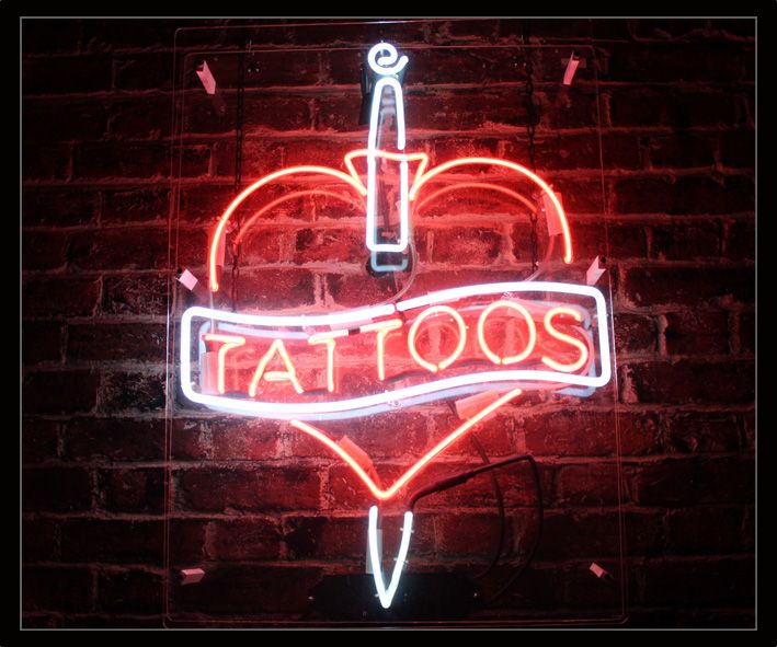 Tattoos neon sign for Neon tattoo signs