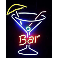 Bar With Cocktail Glass Neon Sign