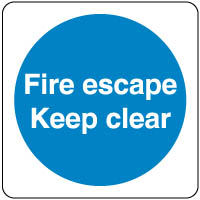 Mandatory Safety Sign - Fire Escape Clear 057