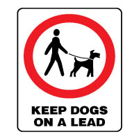 Prohibition safety sign - Keep Dogs On a Lead 160